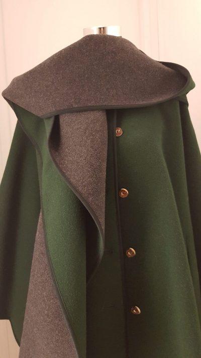 Mantel, Cape, grün, grau