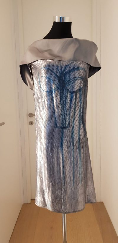Cocktailkleid, Business-Outfit, blau, Michel Mayer