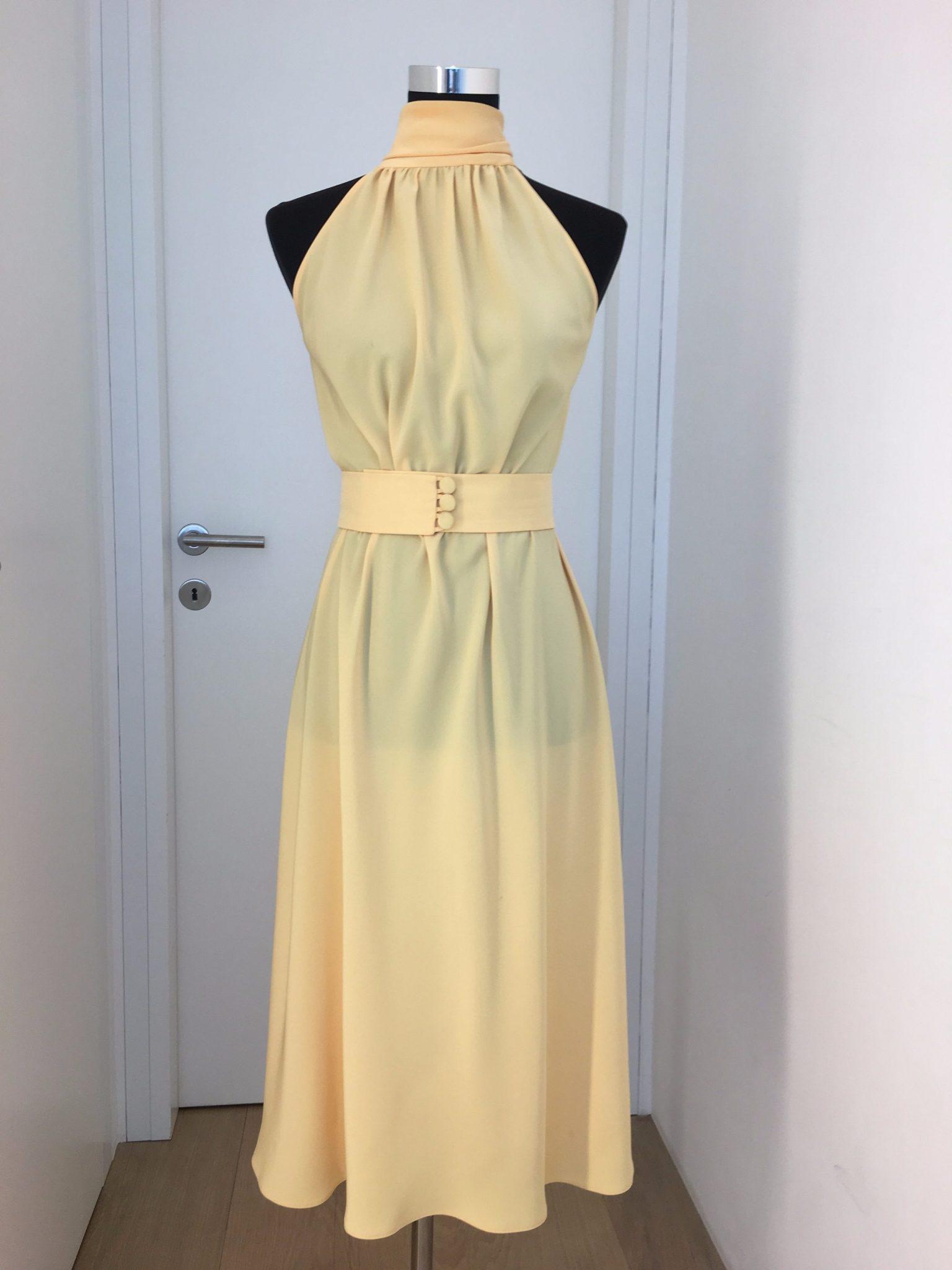 kleid, gelb, maurizio giambra - luxuspuppe-luxusmode aus