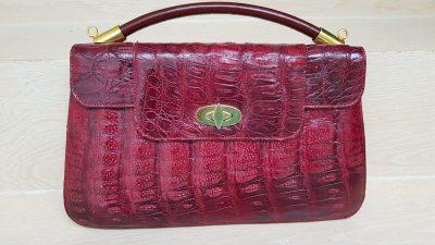 Handtasche, Krokoleder, rot