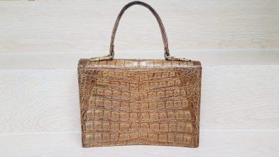 Handtasche, Krokoleder, beige
