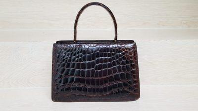 Handtasche, Krokoleder, braun
