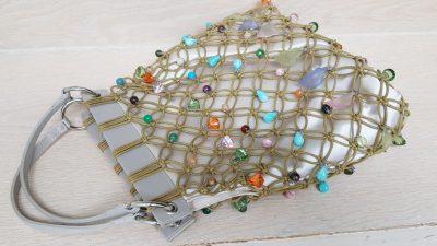 Handtasche, Perlen, bunt