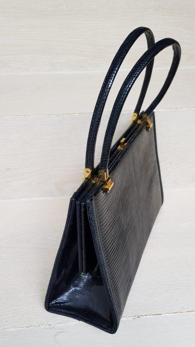 Handtasche, Krokoleder, schwarz