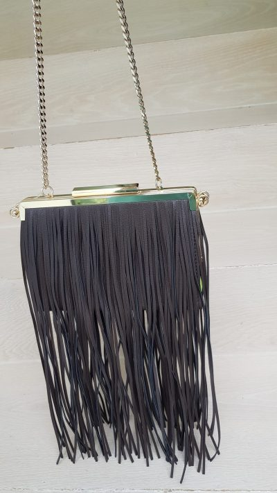 Handtasche, grün, braun, Fransen