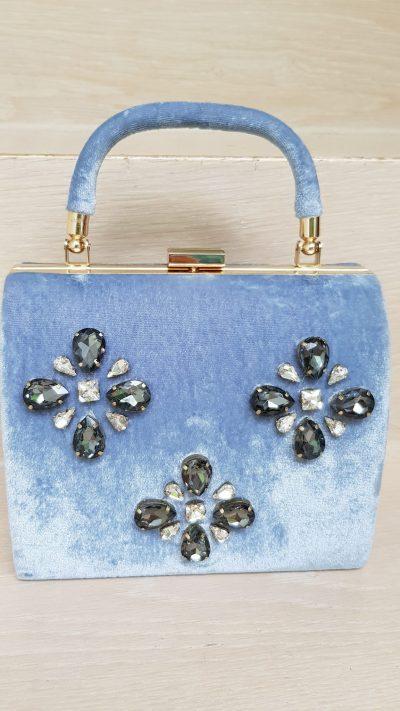 Handtasche, blau, Samt