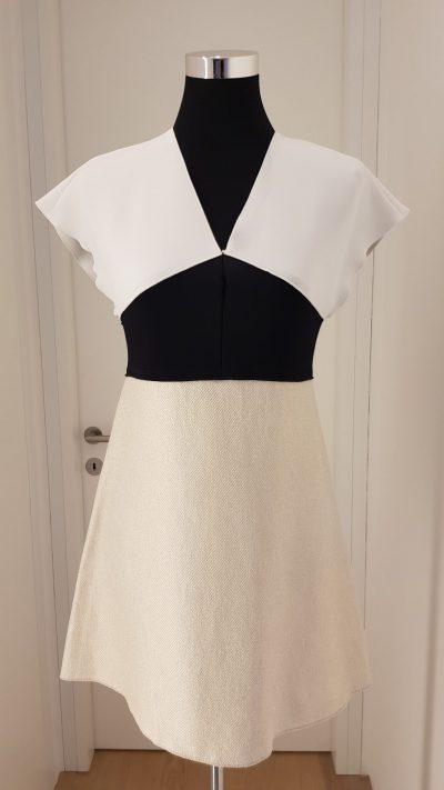Kleid, weiß, schwarz, Longchamp