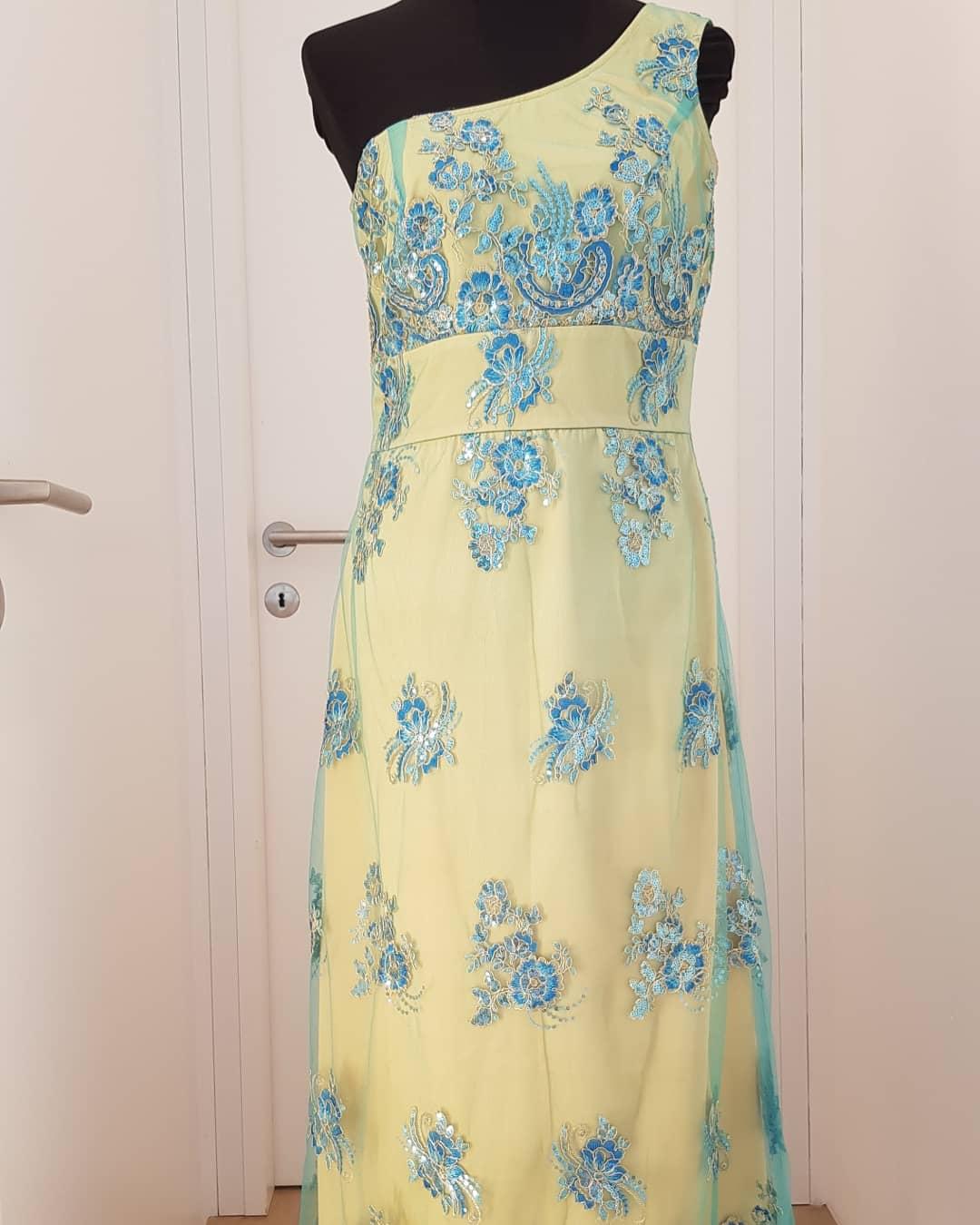 cocktailkleid, gelb, blau, madada - luxuspuppe-luxusmode aus