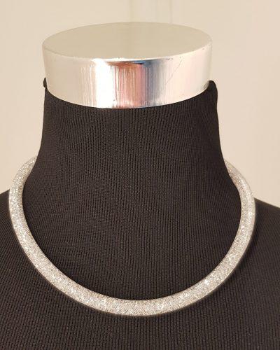 Halskette, silber, blau, Swarovski